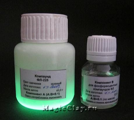 Cмола эпоксидная Фосфоресцентная, свечение Зеленое Яркое, 72гр