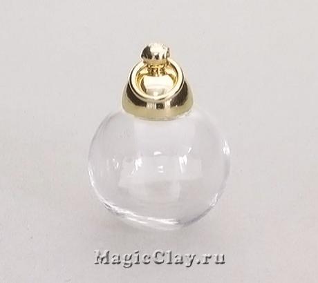 Бутылочка стеклянная Верона шар 16 мм, цвет золото