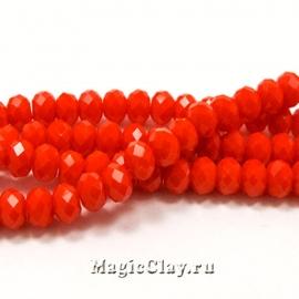 Бусины рондели Оранжевый Восторг 4х3мм, 1нить (~150шт)