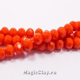 Бусины рондели Оранжевый Шелк 6х4мм, 1нить (~100шт)