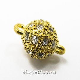 Замок Магнитный 16х10мм со стразами, цвет золото, 1шт