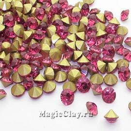 Стразы конусные для бижутерии SS12, цвет Розовый