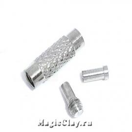 Винтовой замок для чокера, цвет серебро, 1набор (3детали)