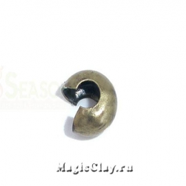 Зажимные маскирующие бусины, 4мм, цвет античная бронза, 1уп (~30шт)