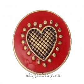 Кнопка Chunk Сердечные Истории, цвет античная бронза