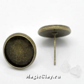 Пуссеты с платформой 14 мм, цвет античная бронза