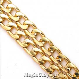 Цепочка Панцирная, звенья 12x7мм, цвет золото