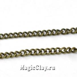 Цепочка Панцирная, звенья 3x2,2мм, античная бронза