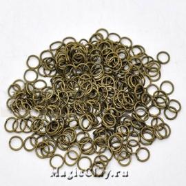 Колечки разъемные, цвет античная бронза 6х0,7мм, 1уп (~200шт)