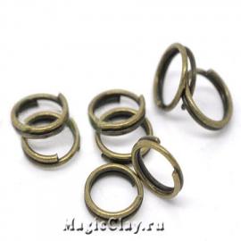 Колечки двойные, цвет античная бронза 6мм, 1уп (~200шт)