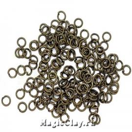 Колечки разъемные, цвет античная бронза 4х0,7мм, 1уп (~200шт)