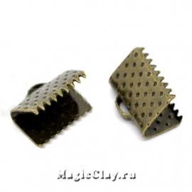 Зажимы для лент 10х8мм, цвет античная бронза, 20шт
