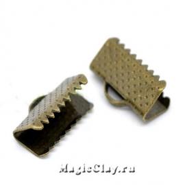 Зажимы для лент 13х8мм, цвет античная бронза, 20шт