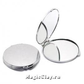 Зеркало с крышкой-основой для декора 75мм, цвет серебро, 1шт