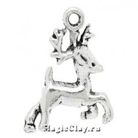 Подвеска Winter Оленёнок, цвет серебро, 1шт
