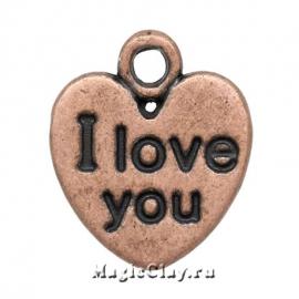 "Подвеска ""I love you"" сердце 12х11мм, цвет медь, 5шт"