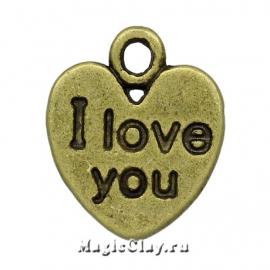 "Подвеска ""I love you"" сердце 12х11мм, цвет античная бронза, 5шт"