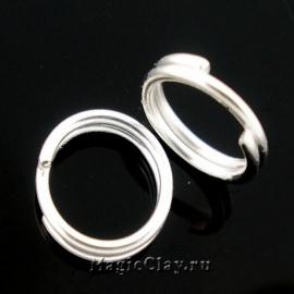 Колечки двойные, цвет серебро светлое 5мм, 1уп (~200шт)