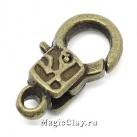 Замок Карабин Узор 18х9мм, цвет античная бронза, 1шт