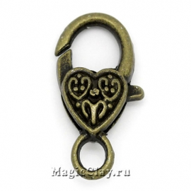 Замок Карабин Сердце Витой Узор 26х14мм, цвет античная бронза, 1шт