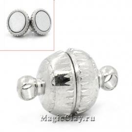 Замок Магнитный 14х8мм, цвет серебро стальное, 1шт