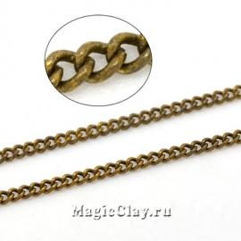 Цепочка Панцирная, звенья 2х1,5мм, цвет античная бронза