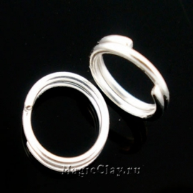 Колечки двойные, цвет серебро светлое 10мм, 1уп (~100шт)