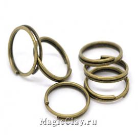 Колечки двойные, цвет античная бронза 10мм, 1уп (~100шт)