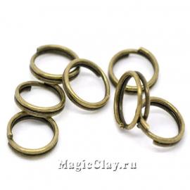 Колечки двойные, цвет античная бронза 8мм, 1уп (~100шт)