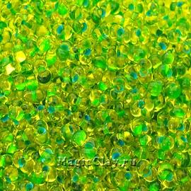 Бисер чешский Farfalle 4х2 Прозрачный, 81058 Yellow Lined Green
