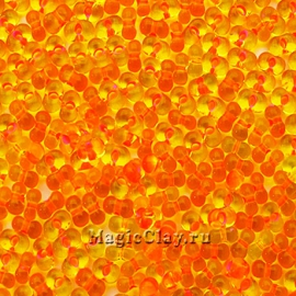 Бисер чешский Farfalle 4х2 Прозрачный, 81083 Yellow Lined Pink