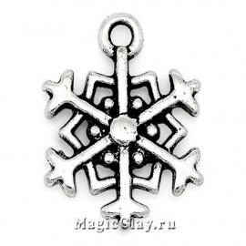 Подвеска Winter Снежинка 18х14мм, цвет серебро, 1шт