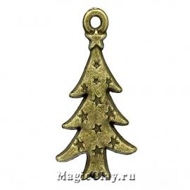 Подвеска Winter Ёлка 26х14мм, цвет античная бронза, 1шт