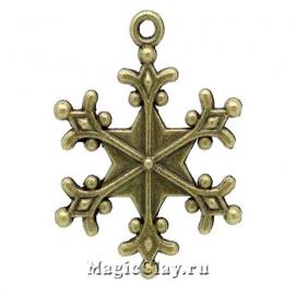 Подвеска Winter Снежинка11, цвет античная бронза, 1шт