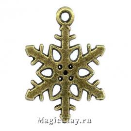 Подвеска Winter Снежинка12, цвет античная бронза, 1шт
