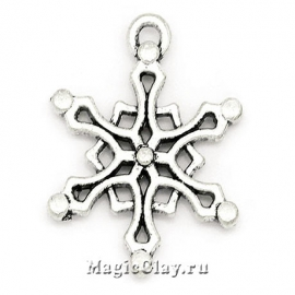 Подвеска Winter Снежинка 19х16мм, цвет серебро, 1шт