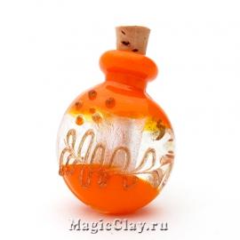 Бутылочка муранское стекло, Оранжевая Осень