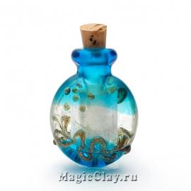 Бутылочка муранское стекло, Бирюзовый Рай