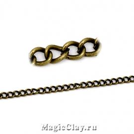 Цепочка Панцирная, звенья 4x3мм, античная бронза