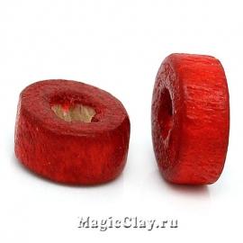 Бусины деревянные Макадамия 6мм, цвет красный, 1уп (~100шт)