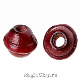 Бусины деревянные Бужумбура 7мм, цвет красный темный, 1 уп.
