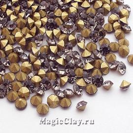 Стразы конусные для бижутерии SS12, цвет Серый