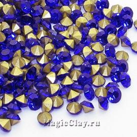 Стразы конусные для бижутерии SS12, цвет Сапфир