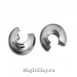 Зажимные маскирующие бусины, 3мм, цвет серебро стальное, 1уп (~30шт)