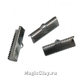 Зажимы для лент 22х7,5мм, цвет черная сталь, 10шт
