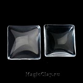 Кабошон Прозрачное стекло Квадрат 10х10мм, 20шт