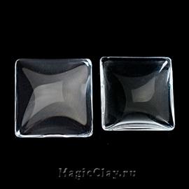 Кабошон Прозрачное стекло Квадрат 20х20мм, 5шт