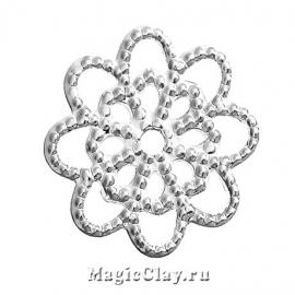Филигрань Цветочек 14мм, цвет серебро, 20шт