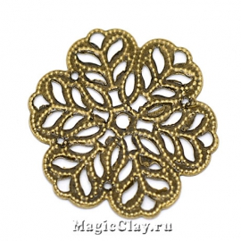Филигрань Снежинка 29х29мм, цвет античная бронза, 5шт