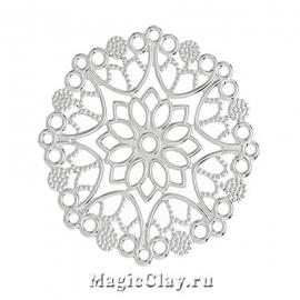 Филигрань Цветок Сказочный 35мм, цвет серебро, 5шт